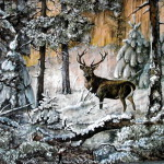 творчество,лес,акварель на бересте,анатолий ничик